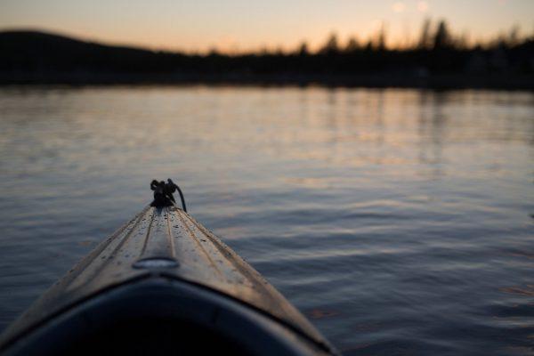 canoe, lake, sunset