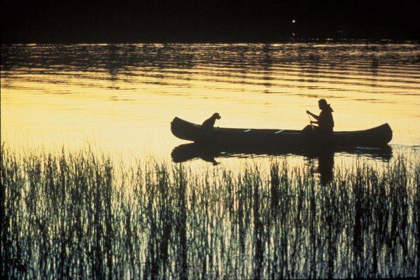 canoe, river, silhouettes